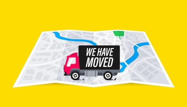Jesteśmy poruszeni. przenieśliśmy nowe biuro, zmieniliśmy lokalizację nawigacji adresowej. ciężarówka na mapie. złożona mapa ze wskazaniem poruszającego się adresu. przenoszenie koncepcji znak biura. ilustracja wektorowa