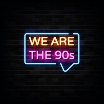 Jesteśmy Szablonem Neon Signs Neon Style Premium Wektorów