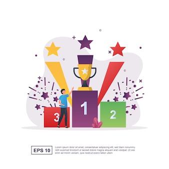 Jesteśmy zwycięzcami, pokazując trofeum z fajerwerkami.