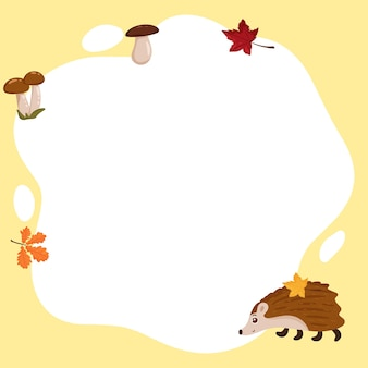 Jeż. rama wektor w formie spotu z elementami jesieni, w stylu płaskiej kreskówki. szablon do zdjęć dzieci, pocztówek, zaproszeń.