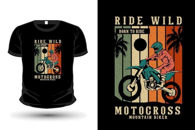 Jeździć dziki motocross towar sylwetka makieta projekt koszulki