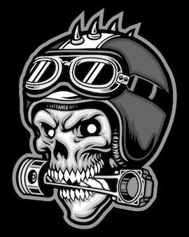 Jeździec czaszki i kask motocyklowy