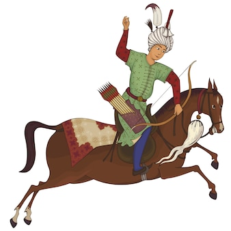 Jeździec konny. perska miniaturowa stylizowana ilustracja.