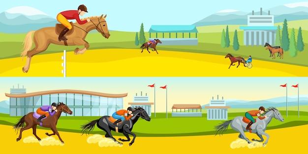 Jeździectwo sport kreskówka poziome ilustracje