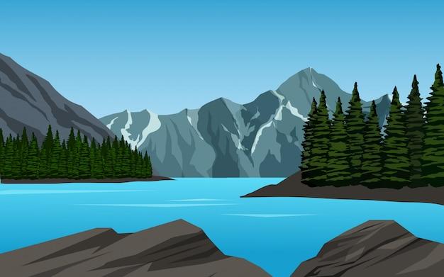 Jezioro górskim krajobrazem ze skałami