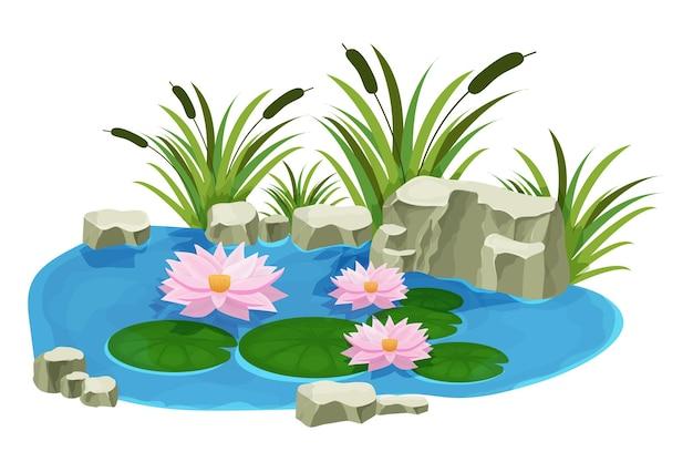 Jezioro ze spokojną lilią wodną kwiatami sitowia i kamieniami w stylu kreskówki na białym tle