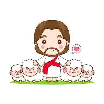 Jezus chrystus i owca chibi ilustracja kreskówka