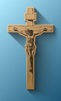 Jezus chrystus, krucyfiks, błogosławieństwo, krzyż, chrześcijaństwo, wektor