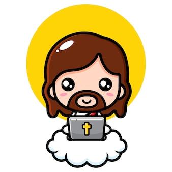 Jezus chrystus ładny grający na laptopie