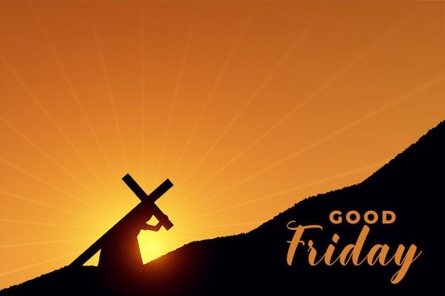 Jezus chrystus niosący krzyż za swoją scenę ukrzyżowania
