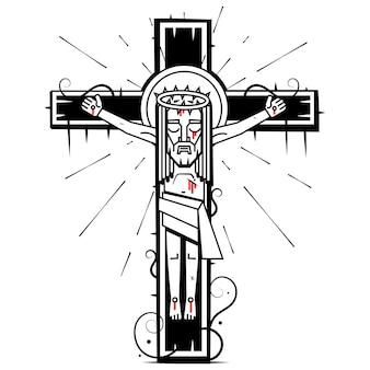 Jezus chrystus syn boży w koronie cierniowej na głowie, symbol chrześcijaństwa ręcznie rysowane ilustracji wektorowych