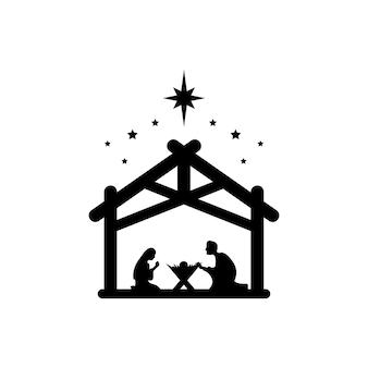 Jezus chrystus urodził się symbolem znaku. maryja i józef pokłonili się nowo narodzonemu zbawicielowi w stajni. wektor eps 10