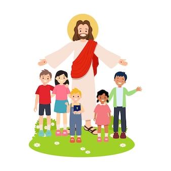 Jezus chrystus z dziećmi na białym tle