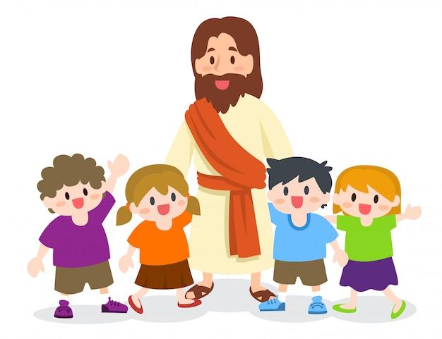 Jezus chrystus z grupą dzieci