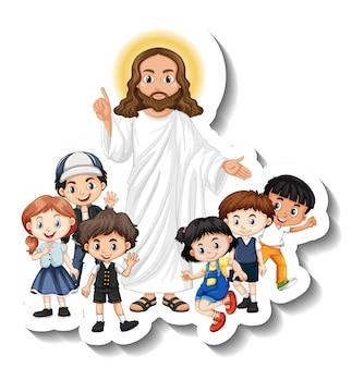 Jezus chrystus z naklejką grupy dzieci na białym tle