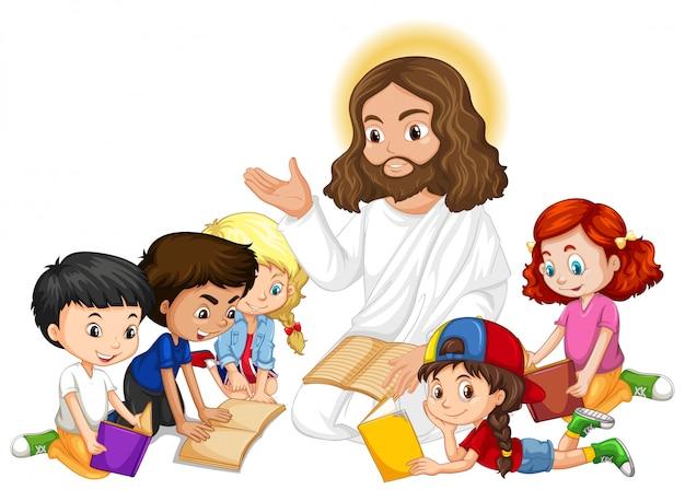 Jezus głosi postać z kreskówek dla dzieci