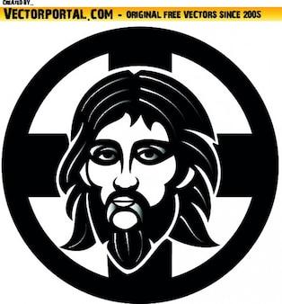 Jezus prawosławny graficzny w okręgu twarz