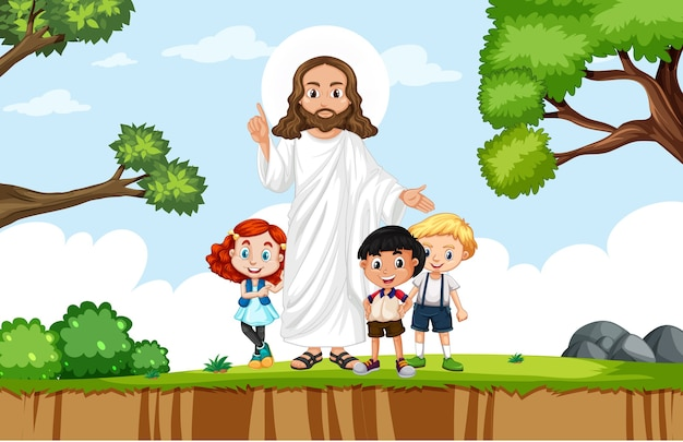Jezus z dziećmi w parku