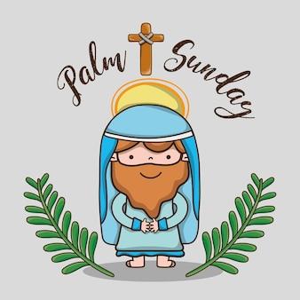 Jezus z gałązkami palmowymi i krzyżową religią katolicką