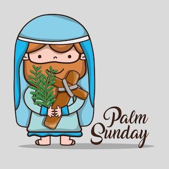 Jezus z gałązkami palmowymi na niedzielnej dłoni