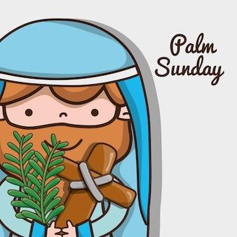 Jezus z katolickim krzyżem i gałązkami palmowymi