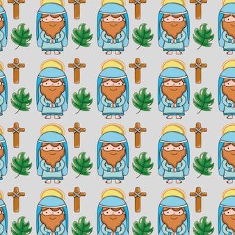 Jezus z katolickim krzyżem i gałęzie palmowe tło