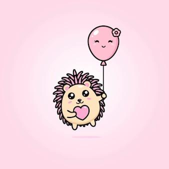 Jeży i uroczych balonów