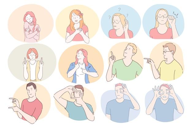 Język migowy, gesty, koncepcja komunikacji rąk. postaci z kreskówek młodych chłopców i dziewcząt