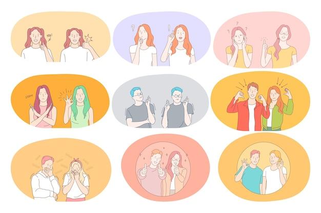 Język migowy, gesty, koncepcja komunikacji rąk.