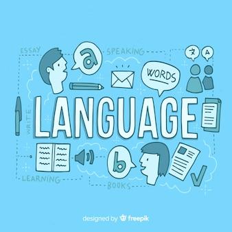 Języki pojęcia tło w ręka rysującym stylu