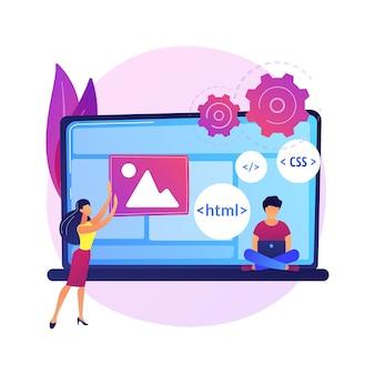 Języki programowania css i html. programowanie, kodowanie, informatyka. postać z kreskówki żeński programista. oprogramowanie, tworzenie stron internetowych.