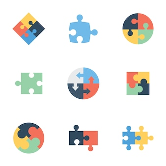 Jigsaw puzzle flat icons pack