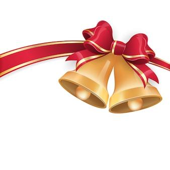 Jingle bells z czerwoną wstążką łuk na świątecznym tle.