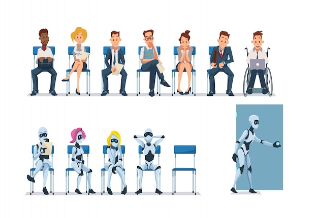 Job interview recruiting and robots. wektor.