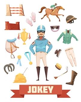 Jockey amunicji dekoracyjne ikony retro kolekcja z rękawiczki grzebień buty siodło medale i nagrody ilustracja kreskówka wektor