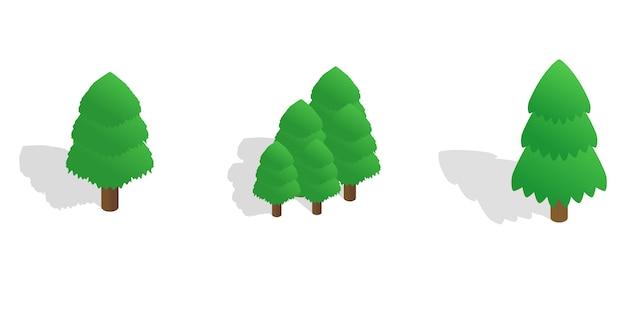 Jodła drzewa ikona ustawiająca na białym tle