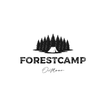 Jodła sosnowa las camping rustykalne logo wektor projektowania
