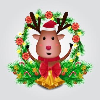 Jodłowa girlanda z uroczą postacią renifera na wesołych świąt i szczęśliwego nowego roku