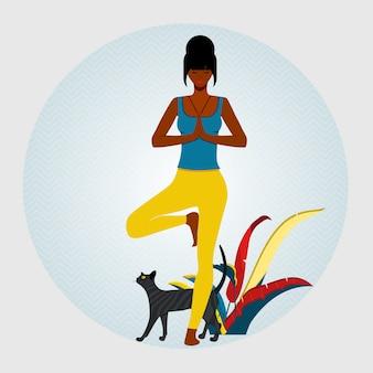 Joga. african american kobieta, stojąca w drzewie stanowią pozycję jogi i medytacji. obok kobiety siedzi kot. ilustracji wektorowych.