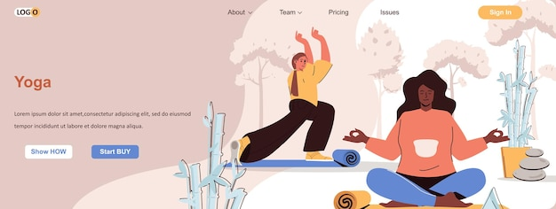 Joga asany koncepcja internetowa kobiety ćwiczą elastyczność medytacja zdrowy styl życia