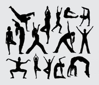 Joga breakdance i rozciąganie sport sylwetka