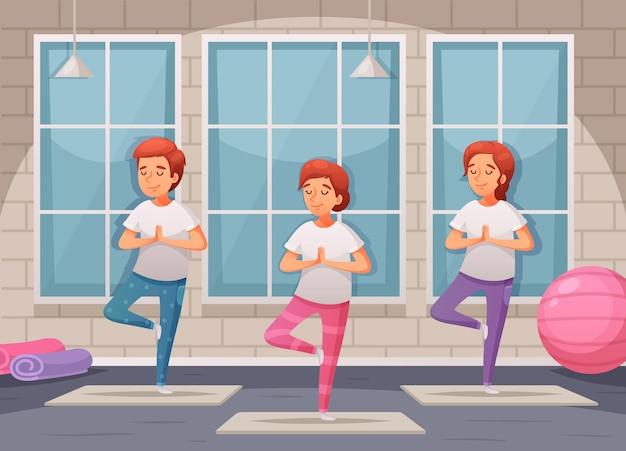 Joga dla dzieci z ilustracjami kreskówka symboli treningu w pomieszczeniach