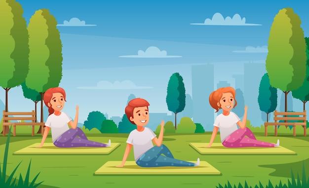 Joga dla dzieci z treningiem w ilustracji kreskówki symboli parku