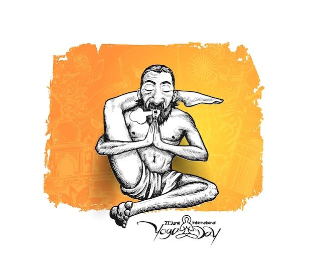 Joga guru baba w pozycji jogi, 21 czerwca międzynarodowy dzień jogi. ilustracja wektorowa szkic rysować ręka.