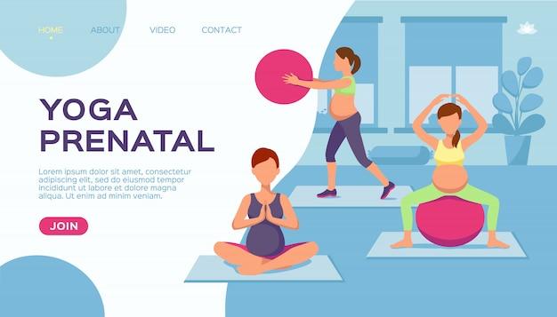 Joga kobieta w ciąży grupa, ilustracja. zdrowe ćwiczenia dla stylu życia fitness, kreskówka sport w ciąży. macierzyństwo
