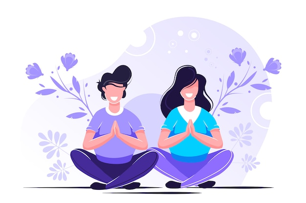 Joga Korzyści Zdrowotne Dla Ciała, Umysłu I Emocji Premium Wektorów