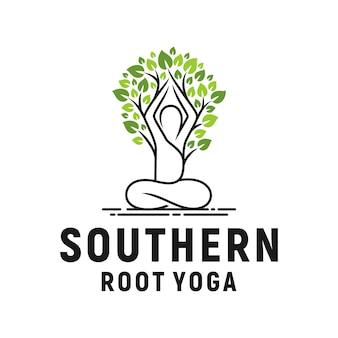 Joga logo inspiracja drzewo liść naturalny organiczny wektor poza
