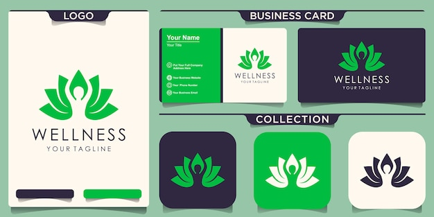Joga lotosu kwiat poza logo logo z projektem wizytówki