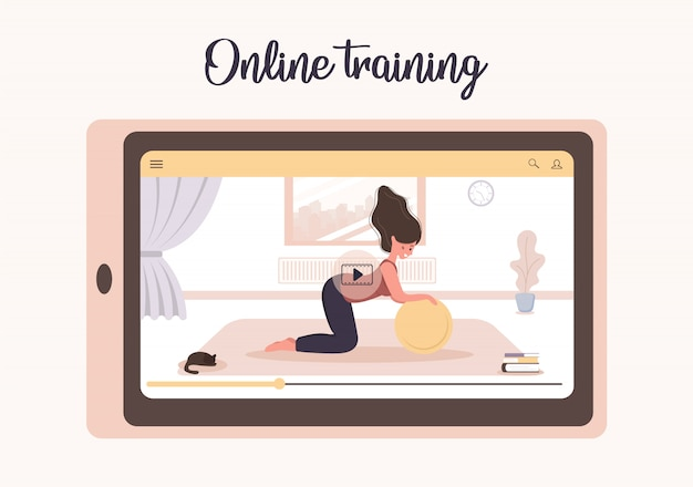 Joga online i sport w domu koncepcja. ćwiczenia z aplikacją mobilną. zachowaj zdrowie i sprawność podczas epidemii koronawirusa i kwarantanny. ilustracja kobiety nauczającej jogi przez internet.