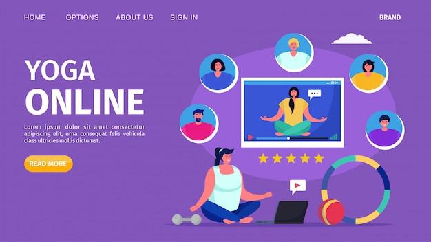 Joga online, ilustracja. kobieta postać osoby w stylu życia fitness, ćwiczenia treningowe dla zdrowia ciała. medytacja